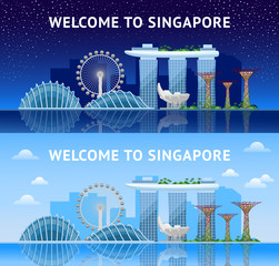 Singapore. Panoramic view of the city at night and day. Singapore city skyline. Vector illustration.
