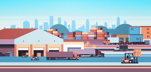 warehouse industrial container semi trailer loading cargo freight outdoor international delivery concept flat horizontal banner vector illustration