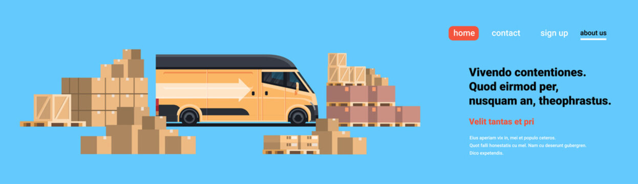 warehouse cargo minivan loading parcel packages paper box blue background international delivery industrial concept flat horizontal copy space vector illustration