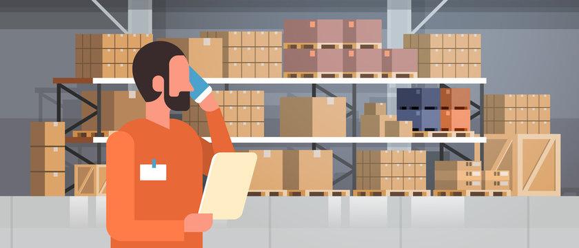 african american man loader phone calling pallet warehouse interior background rack box international delivery concept flat portrait horizontal vector illustration