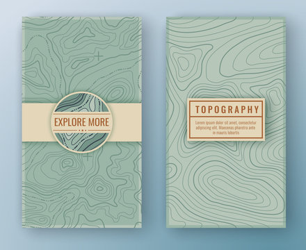 Two abstract retro vertical banners with map pattern and copy space frames. Topographic map travel background. Map pattern with mountain texture and grid