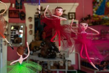 OLINDA, BRAZIL - JULY, 2018: little colorful ballerina, ballet dancers, sculptures dolls