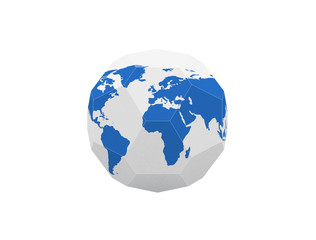 3D geometric earth illustration. Polygonal globe icon