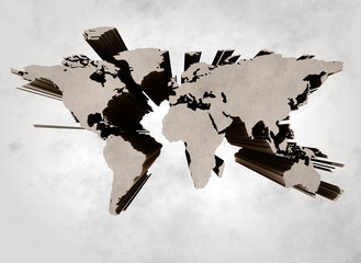Abstract 3d old grunge world map