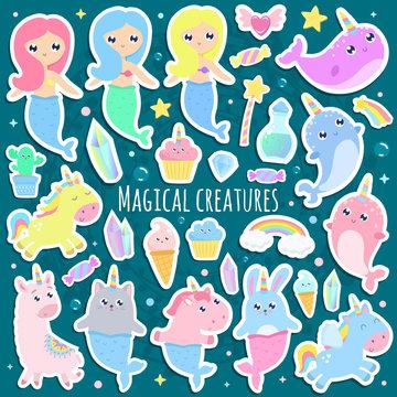 Magical creatures. Narwhal, unicorn mermaid,bunny mermaid, cat mermaid, pegasus, magical items stickers vector illustration