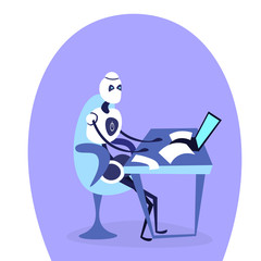 modern robot sitting office workplace using laptop bot helper artificial intelligence working concept cartoon character isolated full length flat vector illustration