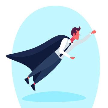 Businessman dressed superhero black cloak flying up