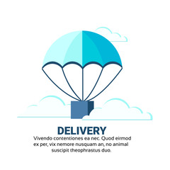 Package flying parachutes fast parcel delivery service concept international shipping isolated copy space vector illustration