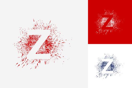 Letter Z Splash Grunge Logo Template Design Vector, Emblem, Design Concept, Creative Symbol, Icon