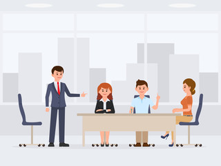 Men and women at the office meeting cartoon character. Working proses conversation