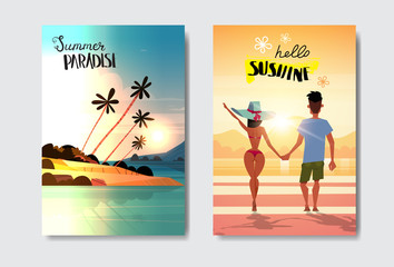 set man woman couple holding hands looking sunset rear view summer vacation tropical beach badge Design Label. Season Holidays lettering for logo,Templates, invitation, greeting card, prints and
