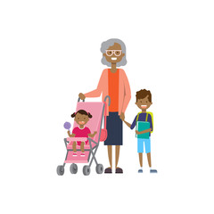 african grandmother with baby grandchildren in stroller, multi generation family, full length avatar on white background, successful family concept, tree of genus flat cartoon design vector
