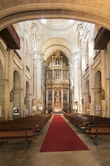 Santiago de Compostela, Spain, June 14, 2018: Interior of the Franciscan church of Santiago de Compostela