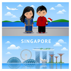 Welcome to Singapore. Series of horizontal banners. Singaporeans people. Daytime view of the city.