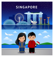 Travel to Singapore. Beautiful view of the city at night. Singaporean people with the national flag. Girl and boy. Colorful vector illustration.