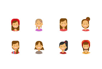 set diverse cute children face happy girl portrait on white background, female avatar flat vector illustration