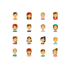 set diverse cute children face happy boy girl portrait on white background, female male avatar flat vector illustration