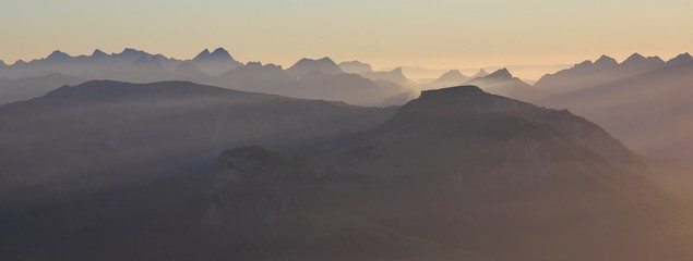 Stunning sunset view from Mount Niesen, Switzerland.