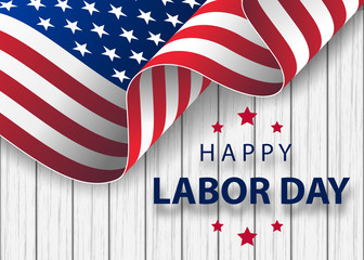 Happy Labor Day holiday banner with brush stroke background in United States national flag
