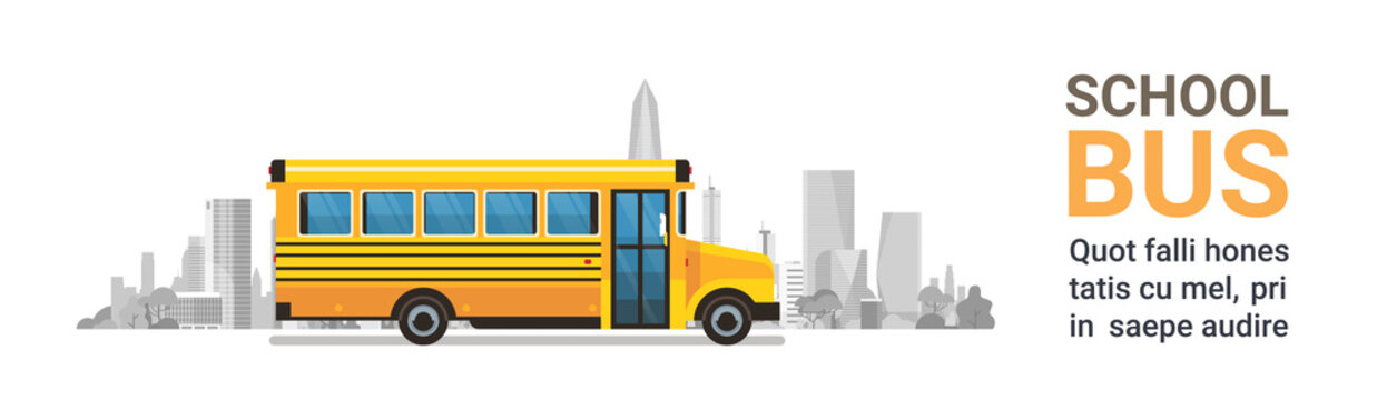 yellow bus back to school pupils transport concept on cityscape skyscraper background flat copy space banner vector illustration
