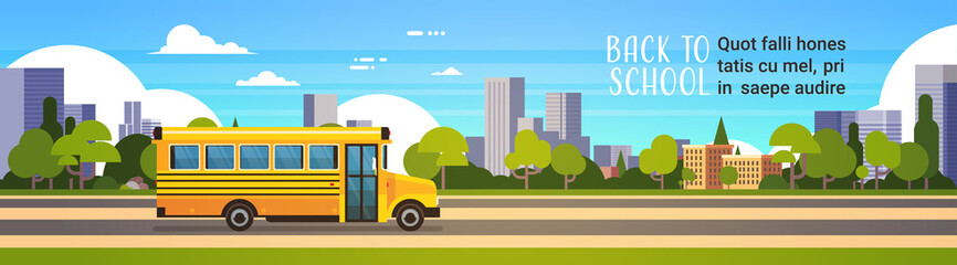 yellow bus back to school pupils transport concept on cityscape background flat copy space banner vector illustration
