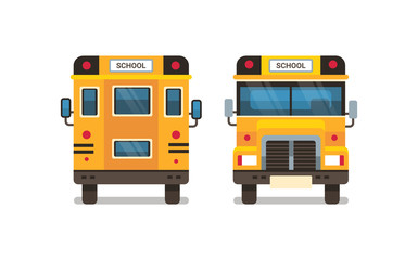 yellow school bus front rear view pupils transport concept on white background flat horizontal vector illustration