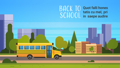 yellow bus back to school pupils transport concept on cityscape background flat copy space horizontal vector illustration