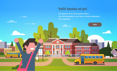 boy raising hands yellow bus school building exterior pupils transport concept portrait 1 september flat horizontal vector illustration