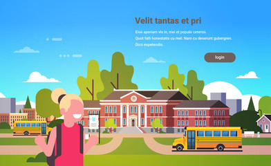 girl raising hands yellow bus school building exterior pupils transport concept portrait 1 september flat horizontal vector illustration