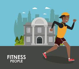 Fitness man running at city cartoons vector illustration graphic design