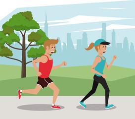 Fitness people marathon at city park cartoons vector illustration graphic design