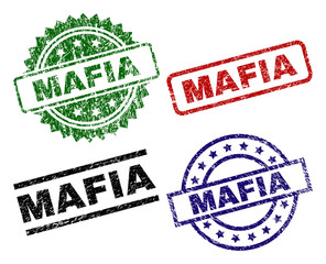 MAFIA seal prints with damaged texture. Black, green,red,blue vector rubber prints of MAFIA text with corroded texture. Rubber seals with circle, rectangle, rosette shapes.