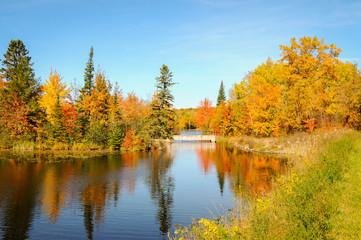 stone bridge over river autumn fall trees