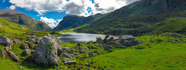 Landscape of Gap of Dunloe drive in The Ring of Kerry Route. Killarney, Ireland.