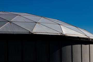 Metal framed domed roof in angled light