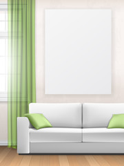 Mockup of the interior with sofa window and poster on wall.  Living room.