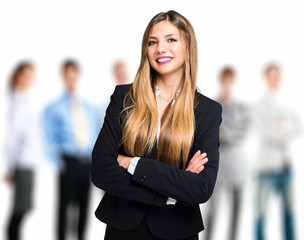 Woman in front of a business team