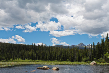 Pond with trees surrounding and mountain background in Indian Peaks Wilderness