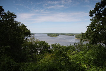 Aerial river view from trees above