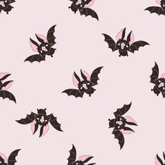 Halloween Seamless Pattern BLACK BAT Color Vector Illustration Set for Digital Print, Holidays, Wall Decorations, Scrapbooking, Photo Album Design and Digital Paper