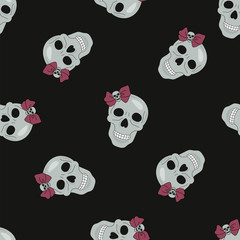 Halloween Seamless Pattern BLACK SKULL Color Vector Illustration Set for Digital Print, Holidays, Wall Decorations, Scrapbooking, Photo Album Design and Digital Paper