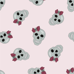 Halloween Seamless Pattern PARTY SKULL Color Vector Illustration Set for Digital Print, Holidays, Wall Decorations, Scrapbooking, Photo Album Design and Digital Paper
