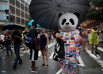 "A person wearing a panda mask poses for photos during a white nationalist-led rally marking the one-year anniversary of the 2017 Charlottesville ""Unite the Right"" protests, in downtown Washington"