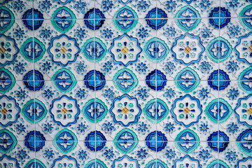 Colorful vintage blue tiles with the old pattern. Set of square-tiled wall design with ornamental value. Seamless blue pattern traditional tile design.