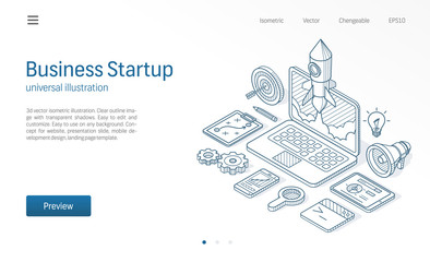 Business project startup modern isometric line illustration. Laptop rocket launch sketch drawn icon. Abstract 3d vector background. Innovation, success creative solution concept. Landing page template