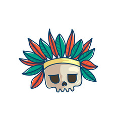 Skull with indian war bonnet