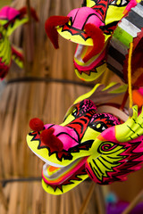 Colorful Chinese dragon plastic and paper toy for Chinese new year happy and goodluck