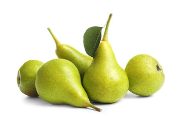 Whole ripe pears on white background