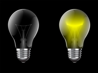 Vector illustration realistic lightbulb isolated on a black background. EPS 10