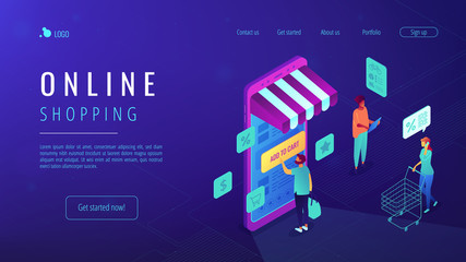 Isometric users doing shopping online with mobile phone landing page. Mobile shopping, ordering and buying online, e-commerce concept. Blue violet background. Vector 3d isometric illustration.